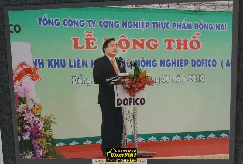 Đồng chí Hoàng Trung Hải - Phó Thủ tướng Chính phủ phát biểu trong buổi lễ xây dựng khu liên hợp công nông nghiệp Dofico.